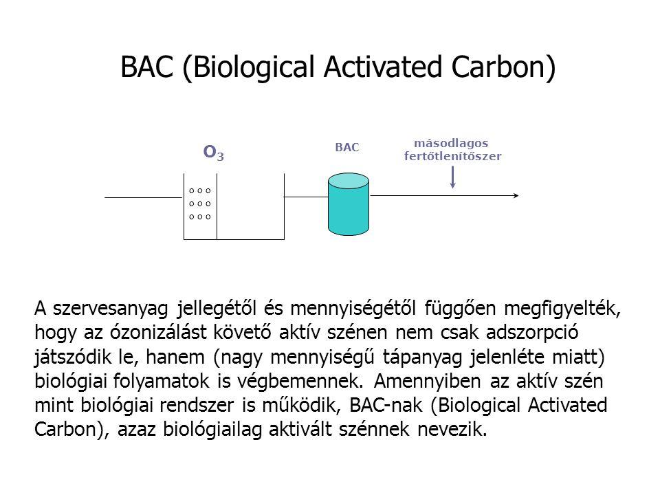 BAC (Biological Activated Carbon) o o o O3O3 másodlagos fertőtlenítőszer BAC A szervesanyag jellegétől és mennyiségétől függően megfigyelték, hogy az