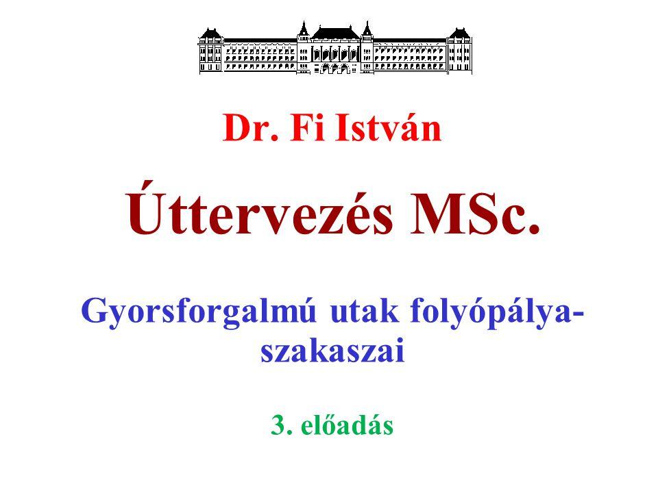 Úttervezés MSc. Dr. Fi István Gyorsforgalmú utak folyópálya- szakaszai 3. előadás