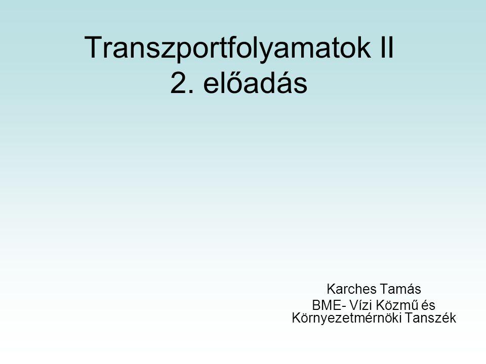Transzportfolyamatok II 2. előadás Karches Tamás BME- Vízi Közmű és Környezetmérnöki Tanszék