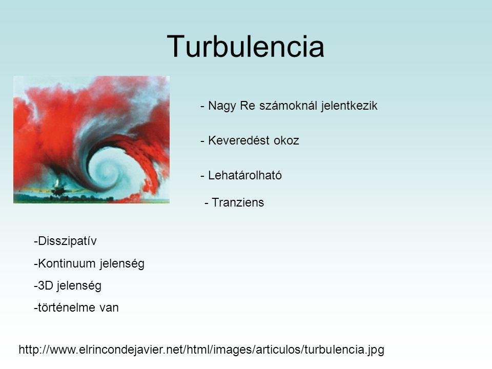 Turbulencia http://www.elrincondejavier.net/html/images/articulos/turbulencia.jpg - Nagy Re számoknál jelentkezik - Keveredést okoz - Lehatárolható - Tranziens -Disszipatív -Kontinuum jelenség -3D jelenség -történelme van