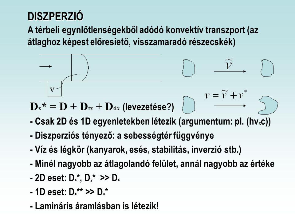 DISZPERZIÓ DISZPERZIÓ A térbeli egynlőtlenségekből adódó konvektív transzport (az átlaghoz képest előresiető, visszamaradó részecskék) v D x * = D + D tx + D dx (levezetése?) - Csak 2D és 1D egyenletekben létezik (argumentum: pl.