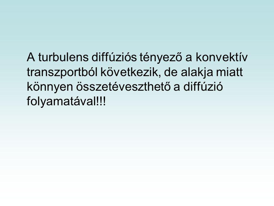 A turbulens diffúziós tényező a konvektív transzportból következik, de alakja miatt könnyen összetéveszthető a diffúzió folyamatával!!!