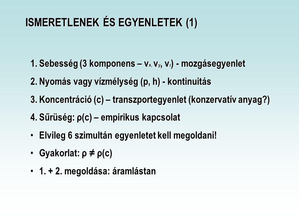ISMERETLENEK ÉS EGYENLETEK (1) 1.Sebesség (3 komponens – v x, v y, v z ) - mozgásegyenlet 2.Nyomás vagy vízmélység (p, h) - kontinuitás 3.Koncentráció (c) – transzportegyenlet (konzervatív anyag?) 4.Sűrüség: ρ(c) – empirikus kapcsolat Elvileg 6 szimultán egyenletet kell megoldani.