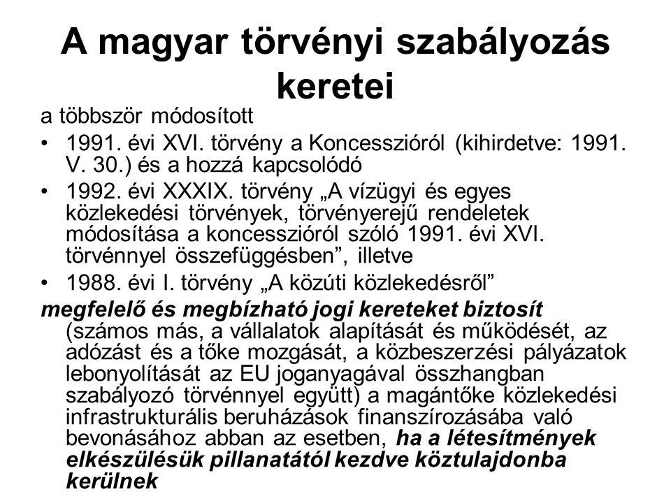 A magyar törvényi szabályozás keretei a többször módosított 1991. évi XVI. törvény a Koncesszióról (kihirdetve: 1991. V. 30.) és a hozzá kapcsolódó 19