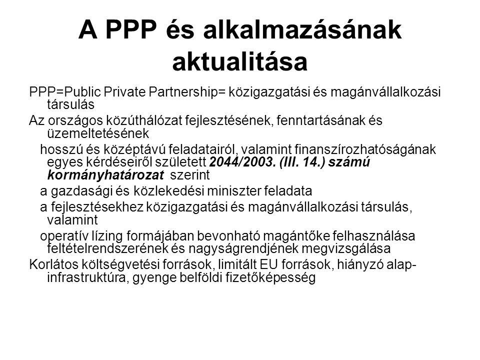 A PPP és alkalmazásának aktualitása PPP=Public Private Partnership= közigazgatási és magánvállalkozási társulás Az országos közúthálózat fejlesztésének, fenntartásának és üzemeltetésének hosszú és középtávú feladatairól, valamint finanszírozhatóságának egyes kérdéseiről született 2044/2003.