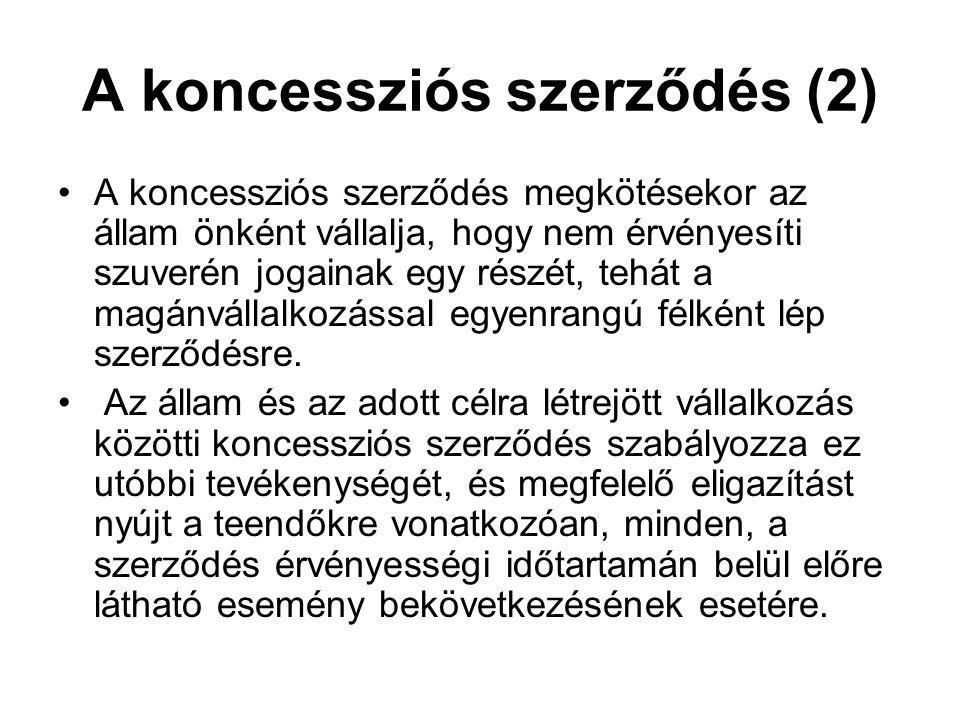 A koncessziós szerződés (2) A koncessziós szerződés megkötésekor az állam önként vállalja, hogy nem érvényesíti szuverén jogainak egy részét, tehát a