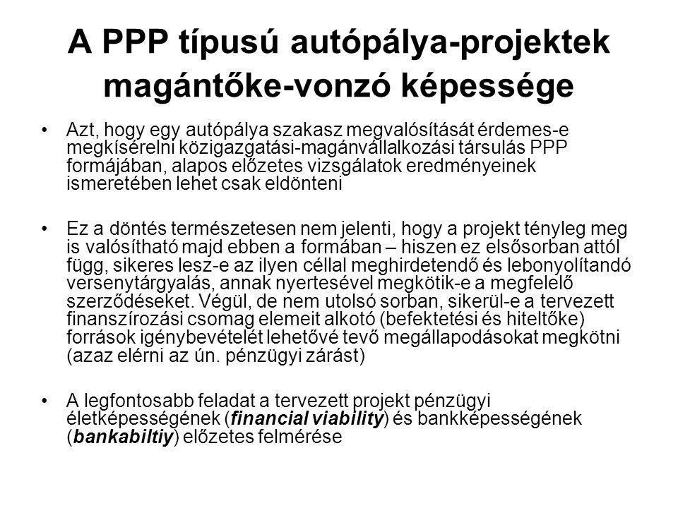 A PPP típusú autópálya-projektek magántőke-vonzó képessége Azt, hogy egy autópálya szakasz megvalósítását érdemes-e megkísérelni közigazgatási-magánvállalkozási társulás PPP formájában, alapos előzetes vizsgálatok eredményeinek ismeretében lehet csak eldönteni Ez a döntés természetesen nem jelenti, hogy a projekt tényleg meg is valósítható majd ebben a formában – hiszen ez elsősorban attól függ, sikeres lesz-e az ilyen céllal meghirdetendő és lebonyolítandó versenytárgyalás, annak nyertesével megkötik-e a megfelelő szerződéseket.