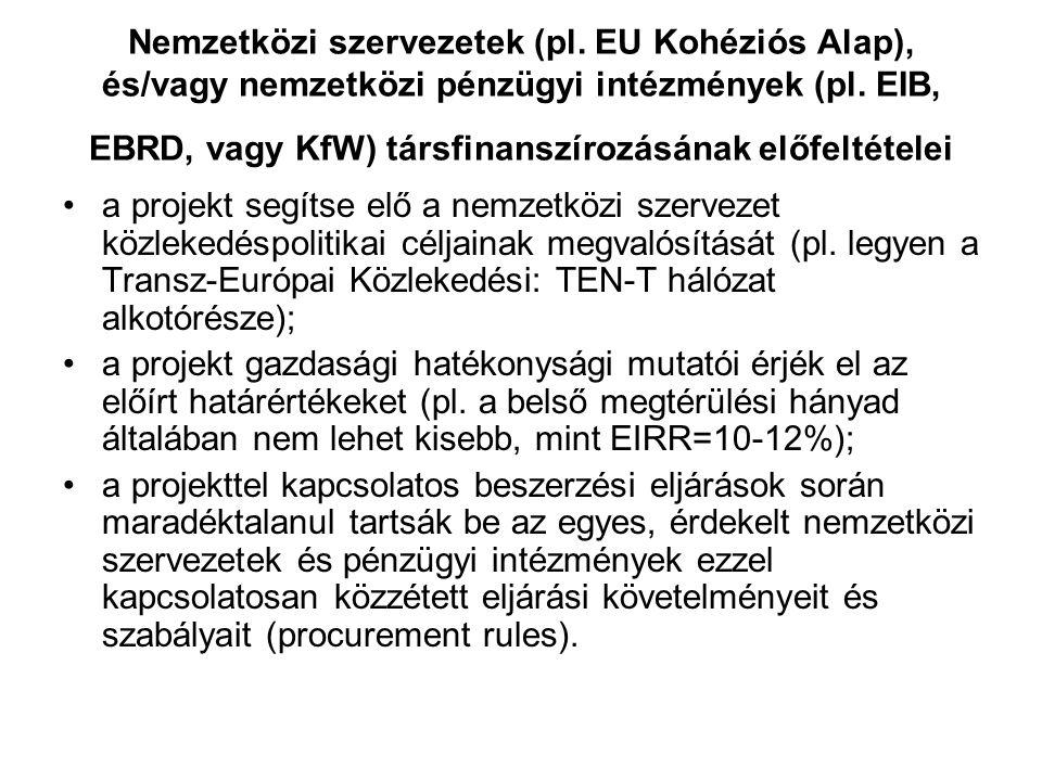 Nemzetközi szervezetek (pl. EU Kohéziós Alap), és/vagy nemzetközi pénzügyi intézmények (pl. EIB, EBRD, vagy KfW) társfinanszírozásának előfeltételei a