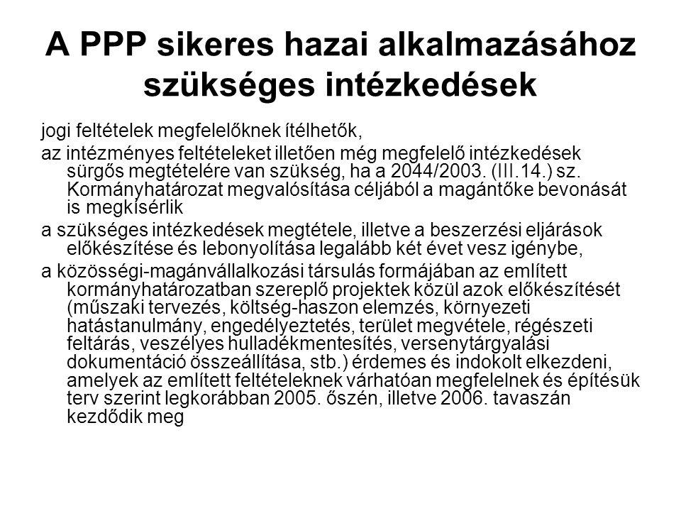 A PPP sikeres hazai alkalmazásához szükséges intézkedések jogi feltételek megfelelőknek ítélhetők, az intézményes feltételeket illetően még megfelelő intézkedések sürgős megtételére van szükség, ha a 2044/2003.