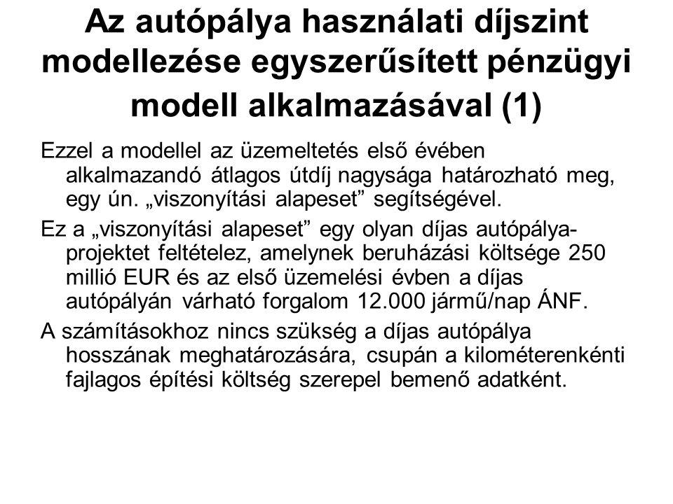 Az autópálya használati díjszint modellezése egyszerűsített pénzügyi modell alkalmazásával (1) Ezzel a modellel az üzemeltetés első évében alkalmazandó átlagos útdíj nagysága határozható meg, egy ún.