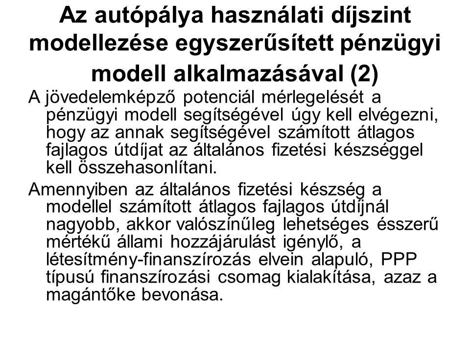 Az autópálya használati díjszint modellezése egyszerűsített pénzügyi modell alkalmazásával (2) A jövedelemképző potenciál mérlegelését a pénzügyi mode
