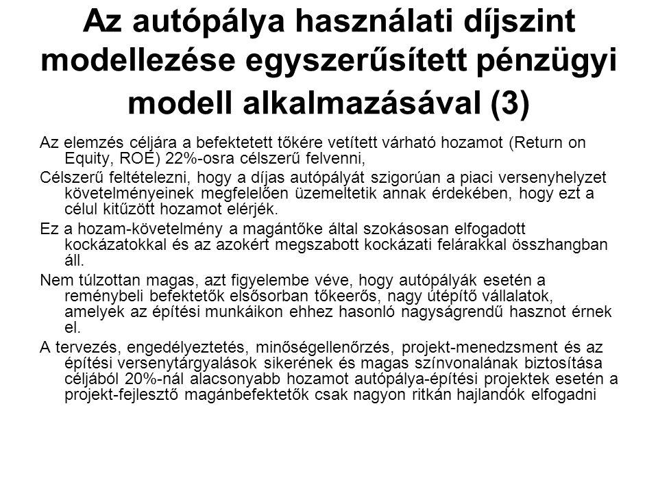 Az autópálya használati díjszint modellezése egyszerűsített pénzügyi modell alkalmazásával (3) Az elemzés céljára a befektetett tőkére vetített várható hozamot (Return on Equity, ROE) 22%-osra célszerű felvenni, Célszerű feltételezni, hogy a díjas autópályát szigorúan a piaci versenyhelyzet követelményeinek megfelelően üzemeltetik annak érdekében, hogy ezt a célul kitűzött hozamot elérjék.