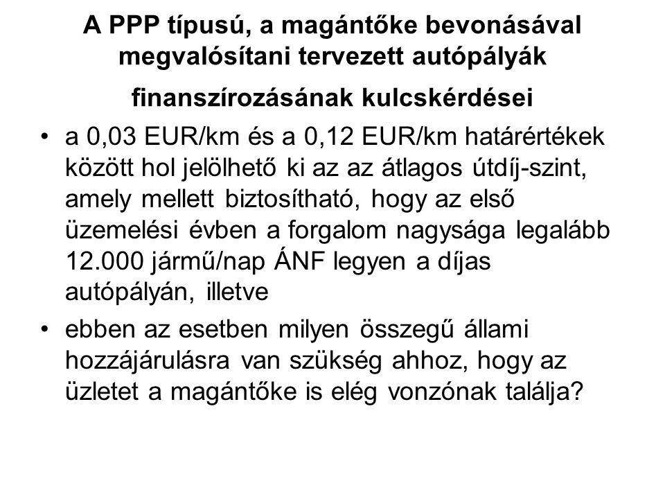 A PPP típusú, a magántőke bevonásával megvalósítani tervezett autópályák finanszírozásának kulcskérdései a 0,03 EUR/km és a 0,12 EUR/km határértékek között hol jelölhető ki az az átlagos útdíj-szint, amely mellett biztosítható, hogy az első üzemelési évben a forgalom nagysága legalább 12.000 jármű/nap ÁNF legyen a díjas autópályán, illetve ebben az esetben milyen összegű állami hozzájárulásra van szükség ahhoz, hogy az üzletet a magántőke is elég vonzónak találja?
