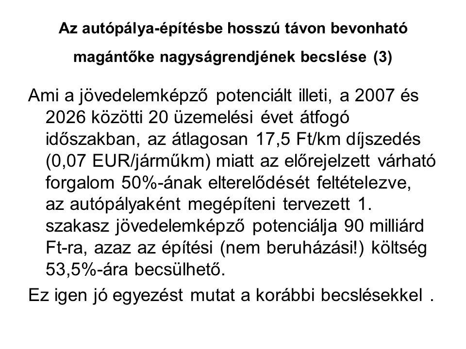 Az autópálya-építésbe hosszú távon bevonható magántőke nagyságrendjének becslése (3) Ami a jövedelemképző potenciált illeti, a 2007 és 2026 közötti 20 üzemelési évet átfogó időszakban, az átlagosan 17,5 Ft/km díjszedés (0,07 EUR/járműkm) miatt az előrejelzett várható forgalom 50%-ának elterelődését feltételezve, az autópályaként megépíteni tervezett 1.