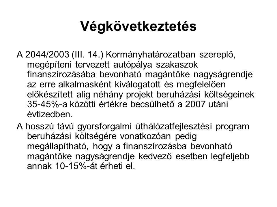 Végkövetkeztetés A 2044/2003 (III. 14.) Kormányhatározatban szereplő, megépíteni tervezett autópálya szakaszok finanszírozásába bevonható magántőke na