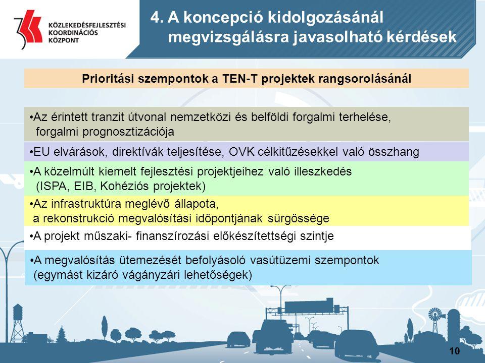 10 Az infrastruktúra meglévő állapota, a rekonstrukció megvalósítási időpontjának sürgőssége Az érintett tranzit útvonal nemzetközi és belföldi forgal