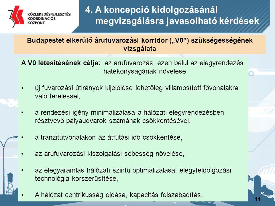 11 A V0 létesítésének célja: az árufuvarozás, ezen belül az elegyrendezés hatékonyságának növelése új fuvarozási útirányok kijelölése lehetőleg villam