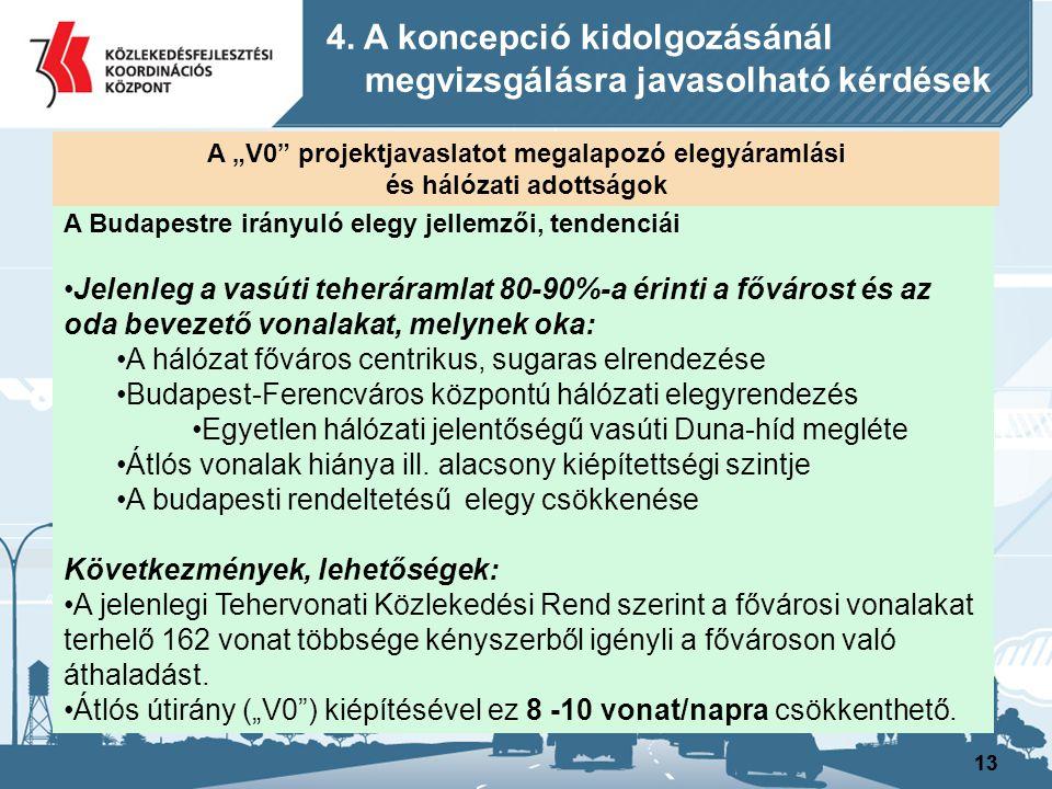13 A Budapestre irányuló elegy jellemzői, tendenciái Jelenleg a vasúti teheráramlat 80-90%-a érinti a fővárost és az oda bevezető vonalakat, melynek o