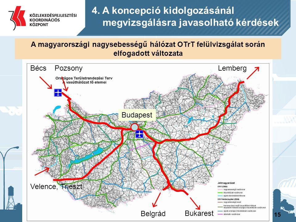 15 BécsPozsony Velence, Trieszt Belgrád Bukarest Lemberg Budapest A magyarországi nagysebességű hálózat OTrT felülvizsgálat során elfogadott változata