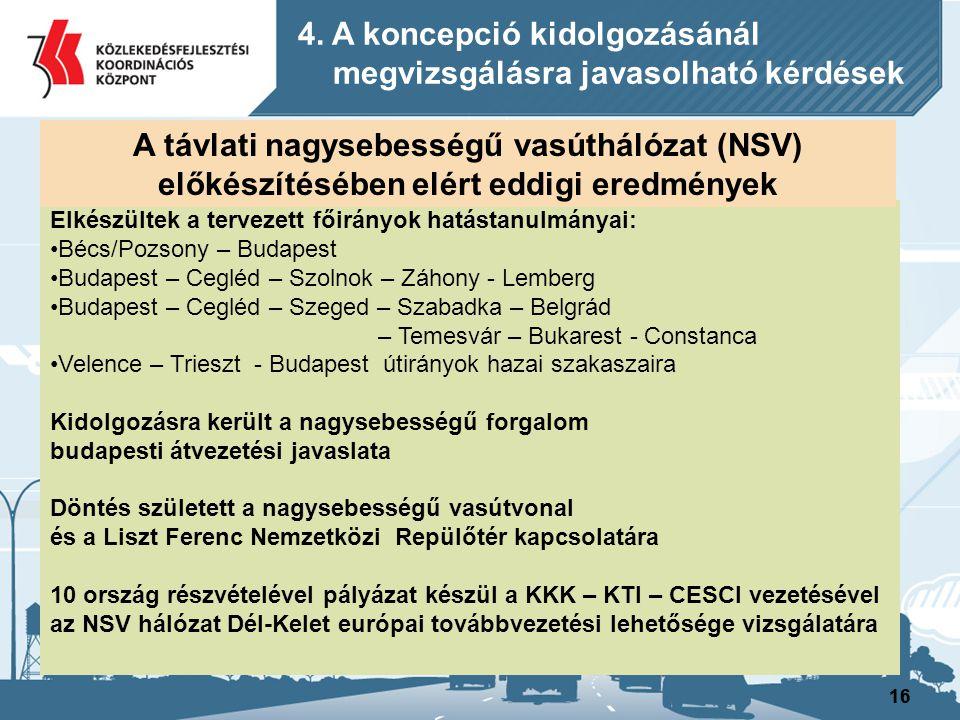 16 Elkészültek a tervezett főirányok hatástanulmányai: Bécs/Pozsony – Budapest Budapest – Cegléd – Szolnok – Záhony - Lemberg Budapest – Cegléd – Szeg
