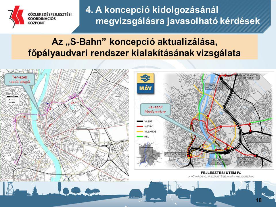 """18 Az """"S-Bahn"""" koncepció aktualizálása, főpályaudvari rendszer kialakításának vizsgálata 4. A koncepció kidolgozásánál megvizsgálásra javasolható kérd"""