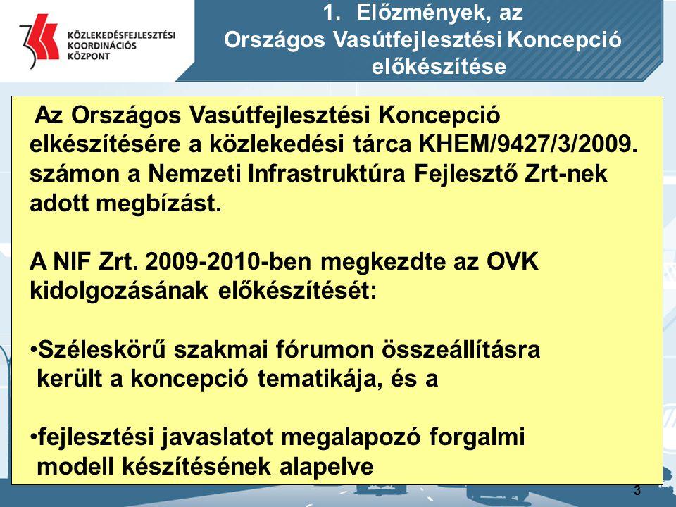 3 1.Előzmények, az Országos Vasútfejlesztési Koncepció előkészítése Az Országos Vasútfejlesztési Koncepció elkészítésére a közlekedési tárca KHEM/9427