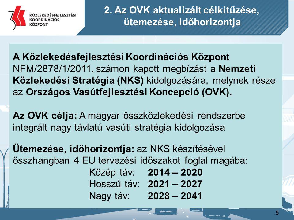 5 A Közlekedésfejlesztési Koordinációs Központ NFM/2878/1/2011. számon kapott megbízást a Nemzeti Közlekedési Stratégia (NKS) kidolgozására, melynek r