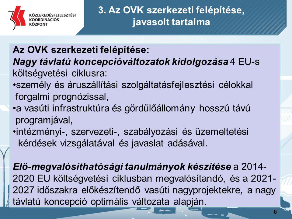 6 Az OVK szerkezeti felépítése: Nagy távlatú koncepcióváltozatok kidolgozása 4 EU-s költségvetési ciklusra: személy és áruszállítási szolgáltatásfejle