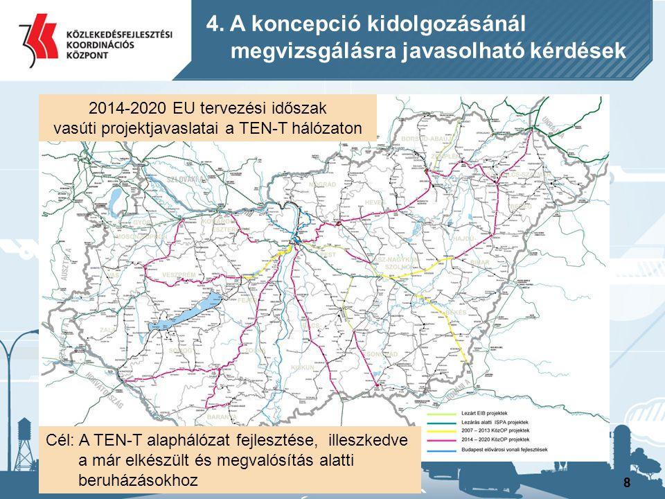 88 4. A koncepció kidolgozásánál megvizsgálásra javasolható kérdések 2014-2020 EU tervezési időszak vasúti projektjavaslatai a TEN-T hálózaton Cél: A