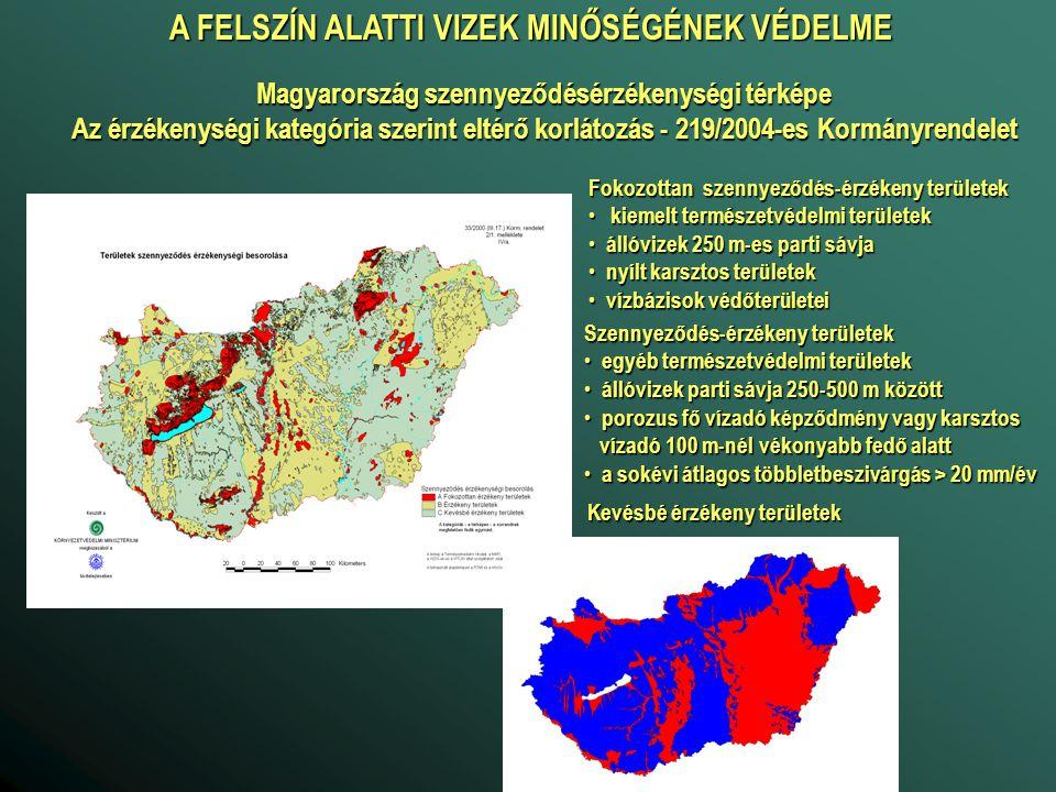 A FELSZÍN ALATTI VIZEK MINŐSÉGÉNEK VÉDELME Magyarország szennyeződésérzékenységi térképe Az érzékenységi kategória szerint eltérő korlátozás - 219/200