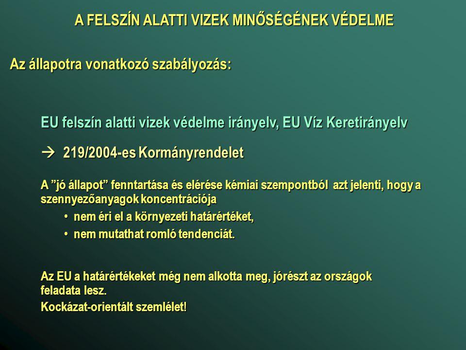 """EU felszín alatti vizek védelme irányelv, EU Víz Keretirányelv  219/2004-es Kormányrendelet A """"jó állapot"""" fenntartása és elérése kémiai szempontból"""