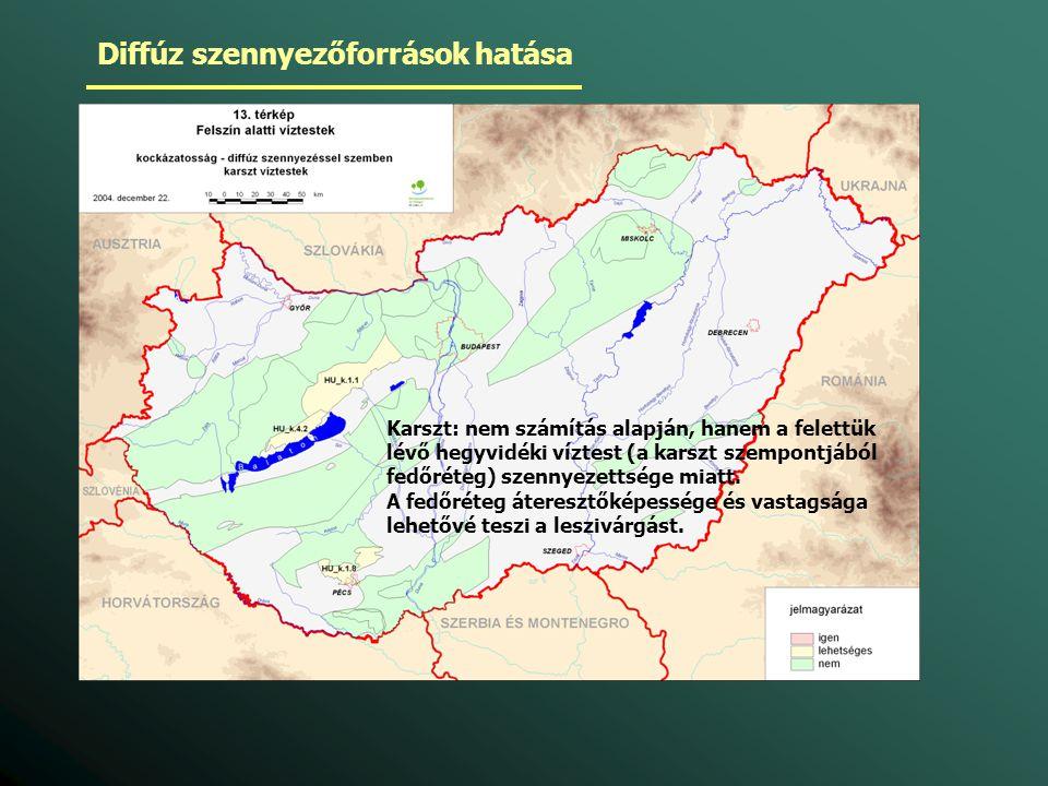 Karszt: nem számítás alapján, hanem a felettük lévő hegyvidéki víztest (a karszt szempontjából fedőréteg) szennyezettsége miatt. A fedőréteg áteresztő