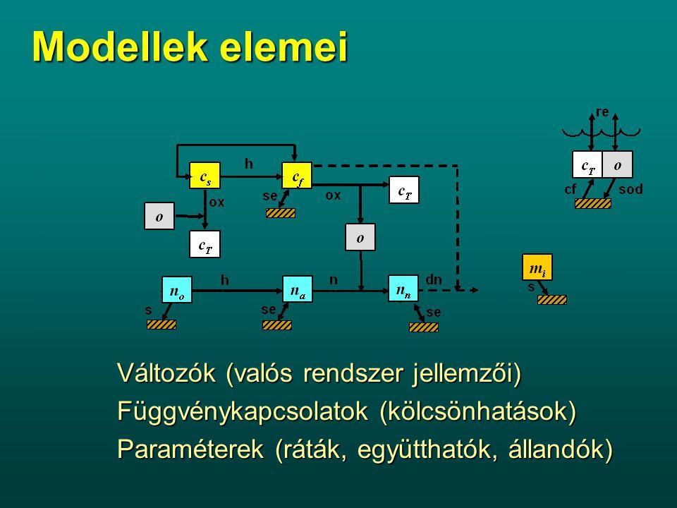 Modellek elemei Változók (valós rendszer jellemzői) Függvénykapcsolatok (kölcsönhatások) Paraméterek (ráták, együtthatók, állandók)