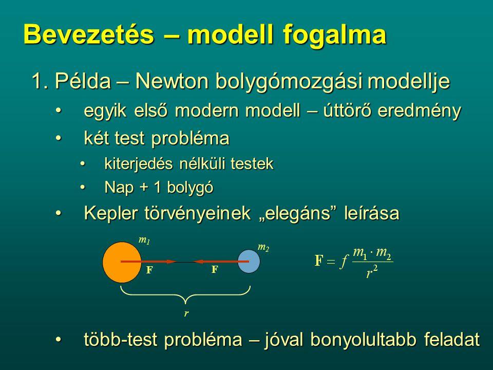 Bevezetés – modell fogalma 1. Példa – Newton bolygómozgási modellje egyik első modern modell – úttörő eredményegyik első modern modell – úttörő eredmé