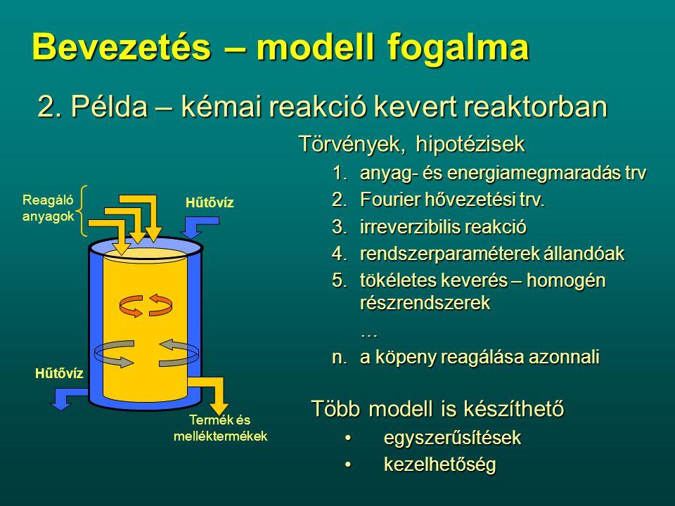 2. Példa – kémai reakció kevert reaktorban Hűtővíz Reagáló anyagok Termék és melléktermékek Törvények, hipotézisek 1.anyag- és energiamegmaradás trv 2