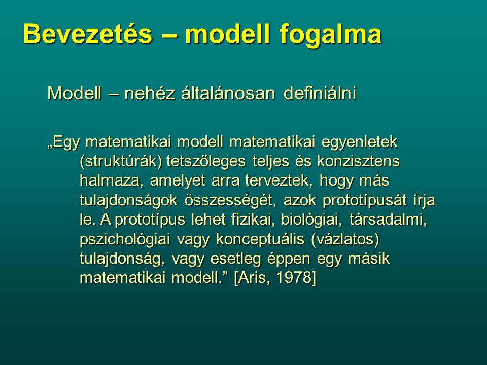 """Bevezetés – modell fogalma Modell – nehéz általánosan definiálni """"Egy matematikai modell matematikai egyenletek (struktúrák) tetszőleges teljes és kon"""