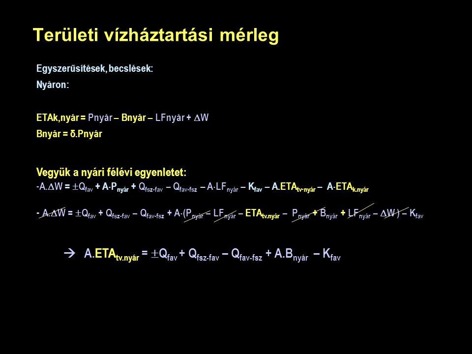 Területi vízháztartási mérleg Vegyük a nyári félévi egyenletet: - - A.  W =  Q fav + A  P nyár + Q fsz-fav – Q fav-fsz – A  LF nyár – K fav – A.ET