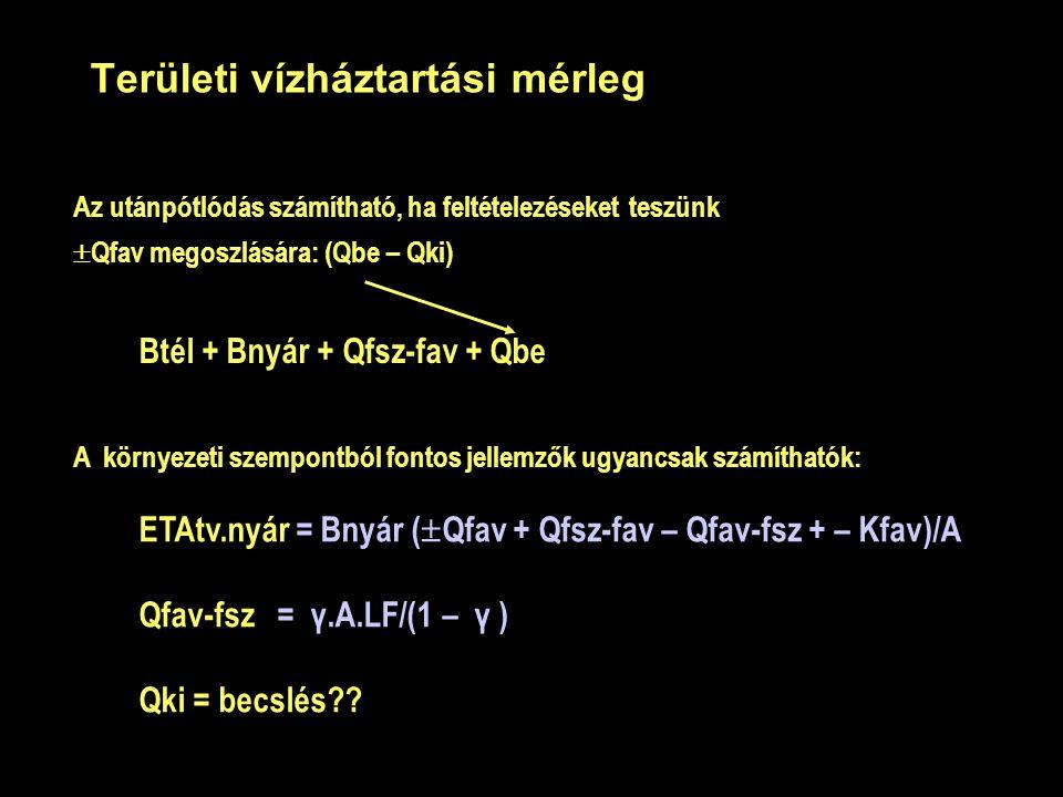 Területi vízháztartási mérleg Az utánpótlódás számítható, ha feltételezéseket teszünk  Qfav megoszlására: (Qbe – Qki) Btél + Bnyár + Qfsz-fav + Qbe A