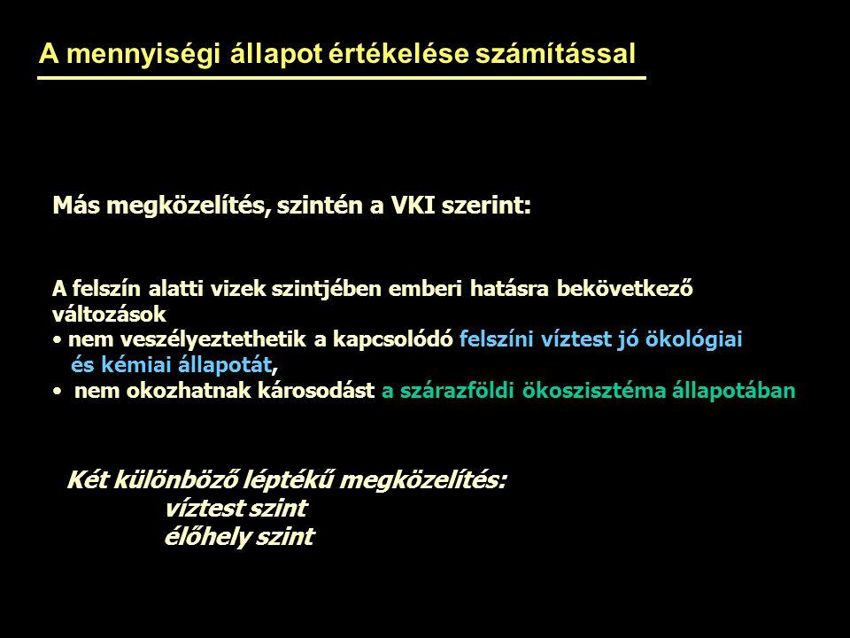 Más megközelítés, szintén a VKI szerint: A felszín alatti vizek szintjében emberi hatásra bekövetkező változások nem veszélyeztethetik a kapcsolódó fe