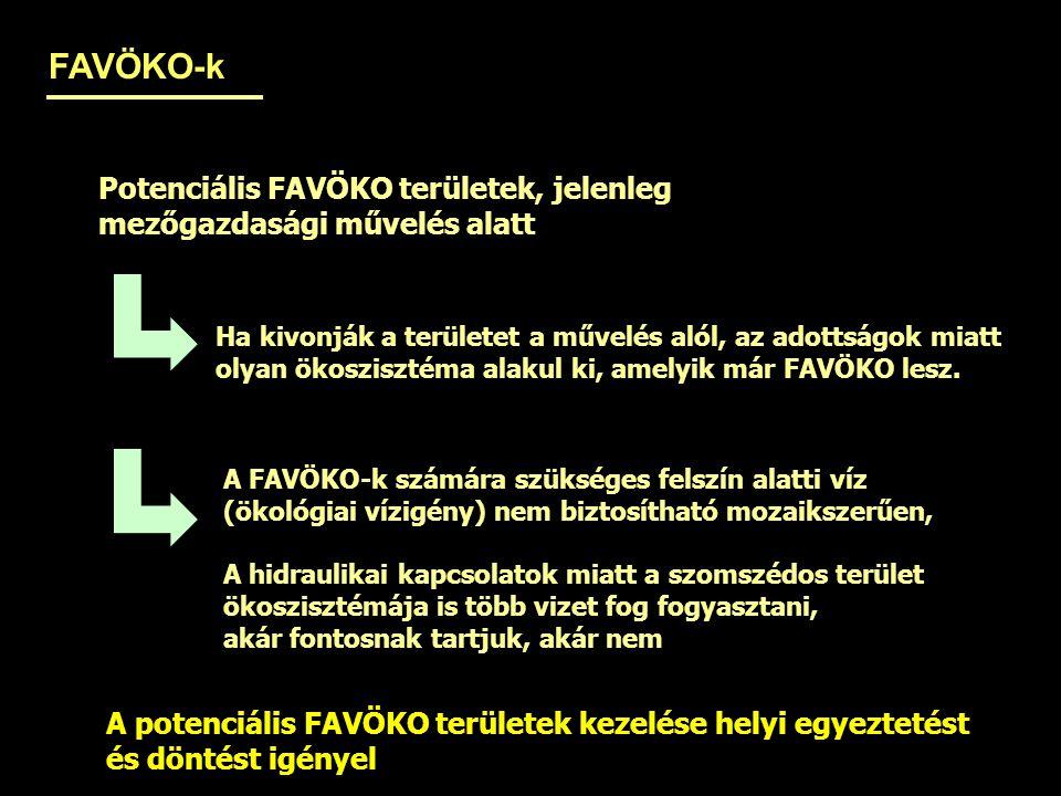 FAVÖKO-k Potenciális FAVÖKO területek, jelenleg mezőgazdasági művelés alatt Ha kivonják a területet a művelés alól, az adottságok miatt olyan ökoszisz