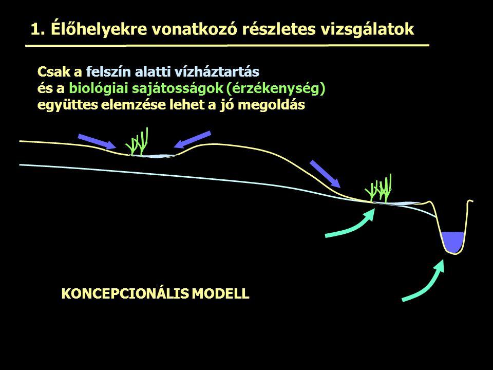 1. Élőhelyekre vonatkozó részletes vizsgálatok Csak a felszín alatti vízháztartás és a biológiai sajátosságok (érzékenység) együttes elemzése lehet a