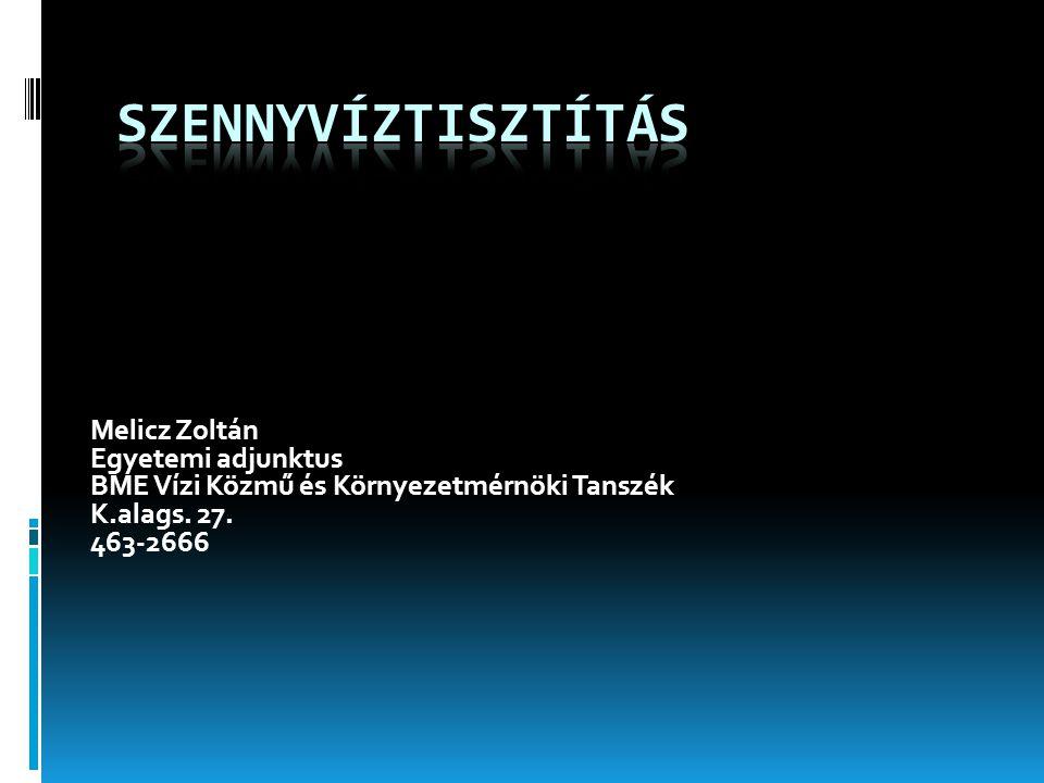 Melicz Zoltán Egyetemi adjunktus BME Vízi Közmű és Környezetmérnöki Tanszék K.alags. 27. 463-2666