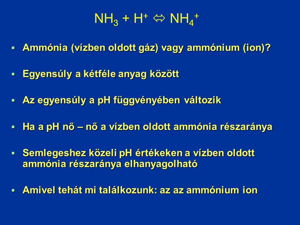  Ammónia (vízben oldott gáz) vagy ammónium (ion)?  Egyensúly a kétféle anyag között  Az egyensúly a pH függvényében változik  Ha a pH nő – nő a ví