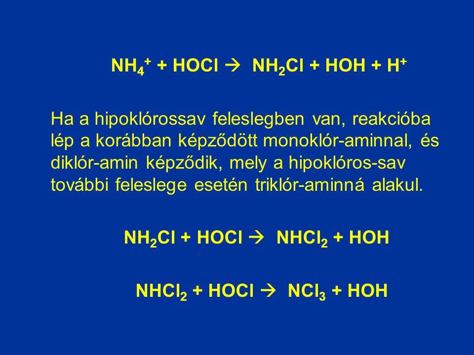 NH 4 + + HOCl  NH 2 Cl + HOH + H + Ha a hipoklórossav feleslegben van, reakcióba lép a korábban képződött monoklór-aminnal, és diklór-amin képződik,