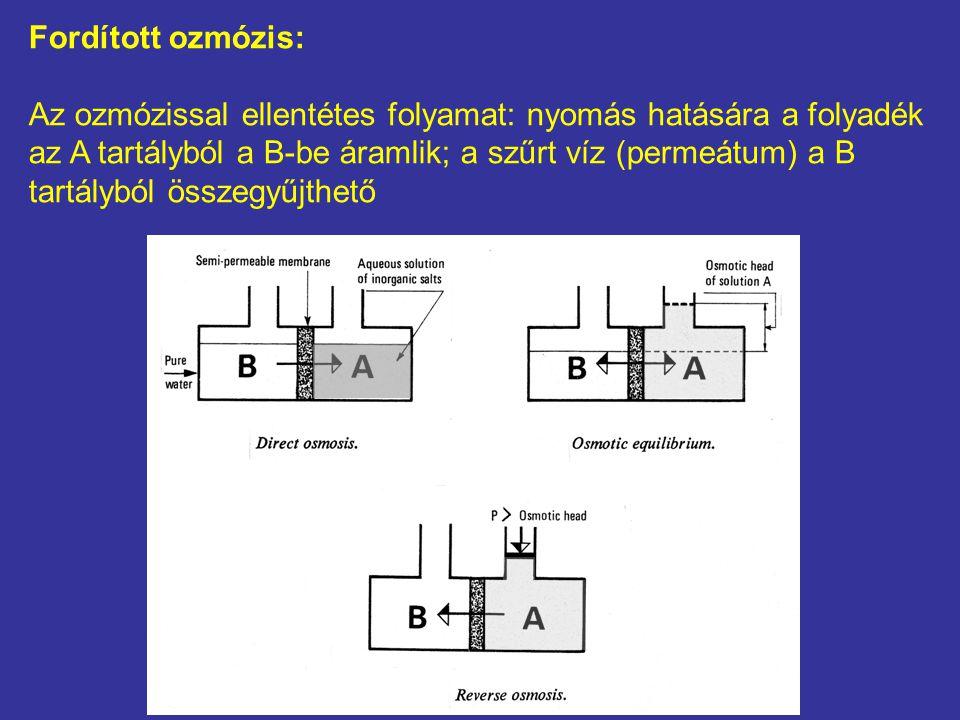Fordított ozmózis: Az ozmózissal ellentétes folyamat: nyomás hatására a folyadék az A tartályból a B-be áramlik; a szűrt víz (permeátum) a B tartálybó