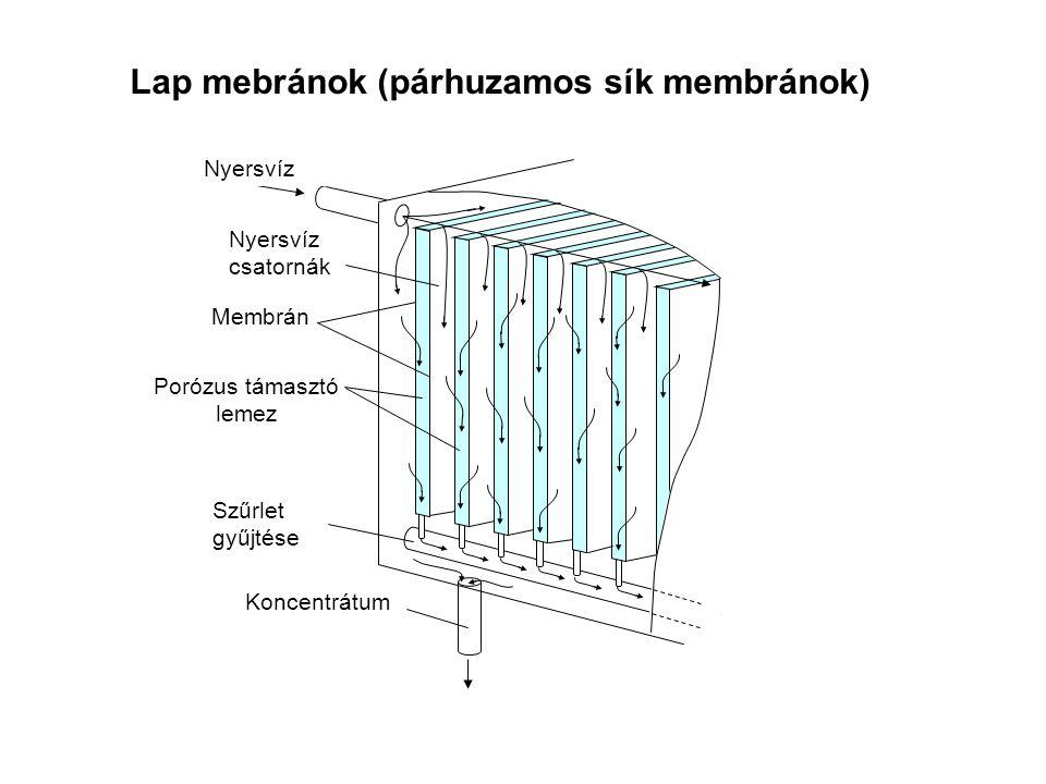 Lap mebránok (párhuzamos sík membránok) Nyersvíz Nyersvíz csatornák Membrán Porózus támasztó lemez Szűrlet gyűjtése Koncentrátum