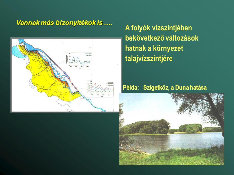 Példa: Szigetköz, a Duna hatása A folyók vízszintjében bekövetkező változások hatnak a környezet talajvízszintjére Vannak más bizonyítékok is ….