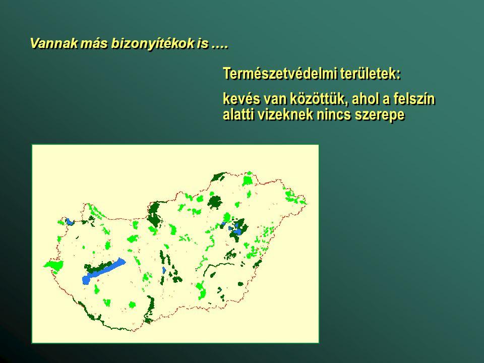 Természetvédelmi területek: kevés van közöttük, ahol a felszín alatti vizeknek nincs szerepe Természetvédelmi területek: kevés van közöttük, ahol a felszín alatti vizeknek nincs szerepe Vannak más bizonyítékok is ….