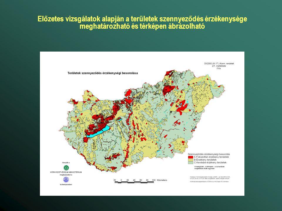 Előzetes vizsgálatok alapján a területek szennyeződés érzékenysége meghatározható és térképen ábrázolható