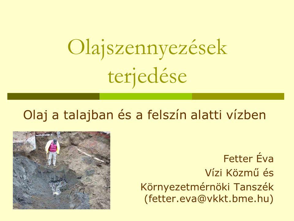 Olajszennyezések terjedése Olaj a talajban és a felszín alatti vízben Fetter Éva Vízi Közmű és Környezetmérnöki Tanszék (fetter.eva@vkkt.bme.hu)